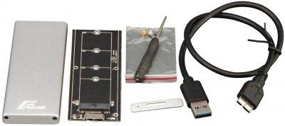 Зовнішня кишеня Frime для M.2 NGFF SATA Metal USB 3.0 (TYPE-A) up to 5 Gb/s Silver (FHE201.M2U30)