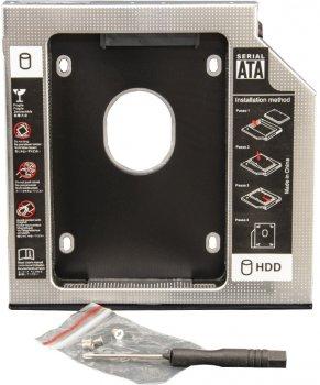 """Адаптер під'єднання Frime HDD/SSD 2.5"""" у відсік привода ноутбука SATA/mSATA 9.5 mm (FHDC950M)"""