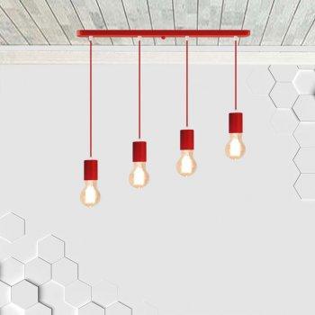 Светильник подвесной на 4-лампы CEILING-4 E27 красный