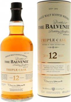 Виски односолодовый Balvenie Triple Cask 12 лет выдержки в подарочной упаковке 1 л 40% (5010327545059)