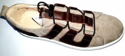 Дитячі кеди-кросівки Tiflani замша шкіра бежево-коричневі (С1002)