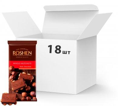 Упаковка шоколаду Roshen Екстрачорний з цілими лісовими горіхами 90 г х 18 шт. (4823077616334)