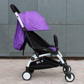 Прогулочная коляска YOYA 175 А+, рама белая, Расцветка Фиолетовая