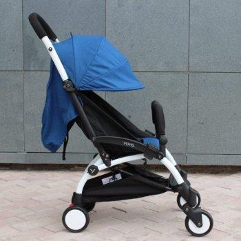 Прогулочная коляска YOYA 175 А+, рама чёрная, Расцветка Синяя