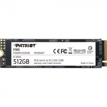 SSD-диск Patriot P300 M.2 2280 PCIe NVMe 3.0 x4 TLC (P300P512GM28)