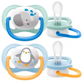 Пустышка ортодонтическая Philips Avent Ultra Air Animal для мальчиков 0-6 месяцев (8710103949336)