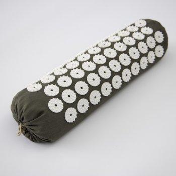 Масажний килимок і валик 2в1 (аплікатор Кузнєцова) масажер для ніг/спини/шиї/тіла FitUp (F-00002) Хакі білий