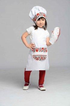 Костюм Маленький повар Люкс белый колпак и фартук унисекс 3-7 лет