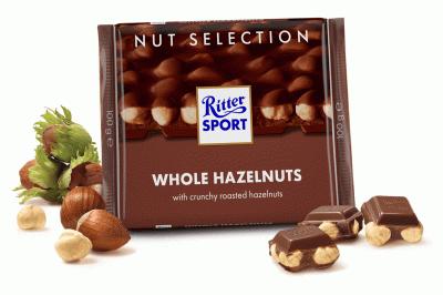 Шоколад Ritter Sport Nut Selection молочний з цільними лісовими горіхами 100 г