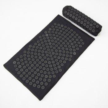 Масажний килимок і валик 2в1 (аплікатор Кузнєцова) масажер для ніг/спини/шиї/тіла FitUp (F-00002) Чорна