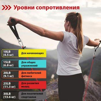 Набор эспандеров WCG t15 для фитнеса 5 жгутов + чехол