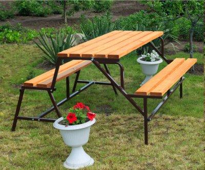 Набор садовой мебели стол-скамейки Трансформер Атлант 3 в 1 Nk Plast Шоколад-Тик