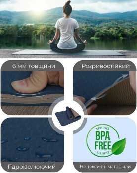 Килимок для фітнесу та йоги PowerPlay 4150 Premium TPE 183 х 61 х 0.6 см Синій (PP_4150_Blue)