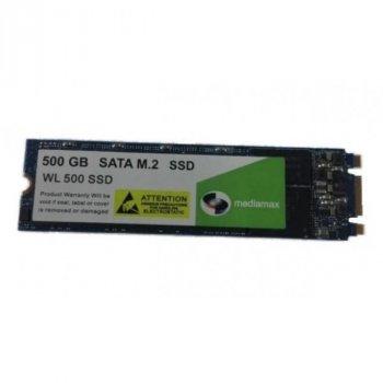 SSD 500GB Mediamax M. 2 2280 SATAIII 3D NAND TLC (WL 500 SSD M. 2) Refurbished напрацювання до 1%