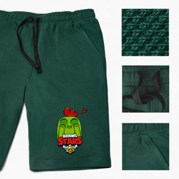 Шорти дитячі Бровл Старс Спайк (Brawl Stars Spike) (9753-1010-DG) Бавовна Lacoste Темно-зелений