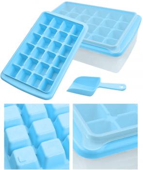 Форма для льда Kitchenio с контейнером и лопаткой Голубая (2000992406963)