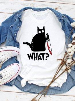 "Футболка Zuzu Cat says ""What?"" ZZP00019 Белая"