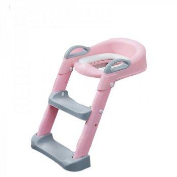 Накладка на унітаз з драбинкою Baby Assistant DA-6900 (рожевий з сірим)