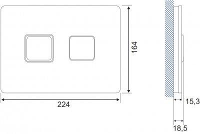 Панель смыва CERSANIT Accento Square S97-054 белое стекло