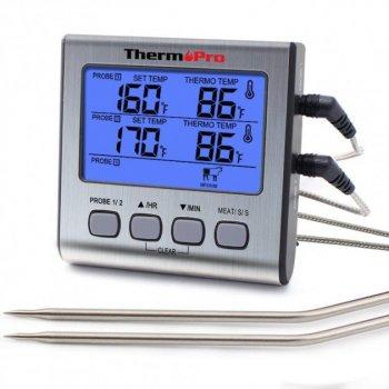 Цифровой профессиональный двухканальный термометр для приготовления пищи ThermoPro TP-17 (-10°C ... 300°C) + таймер + магнит
