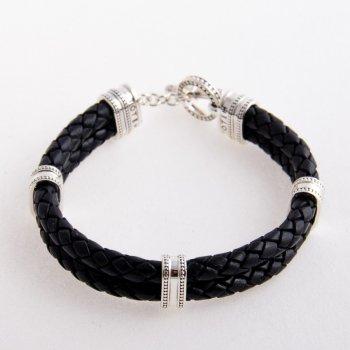 Браслет TOTEM Adventure Jewelry серебряный с кожаным шнуром