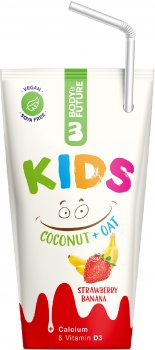 Упаковка кокосово-овсяного растительного молока Body and Future Kids со вкусом клубники и банана 200 мл х 10 шт (8588007442488)