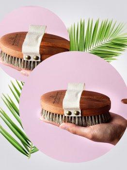 Щетка для сухого массажа Maldives Dreams из микса конского волоса и листьев агавы Премиальная (9120110810014)