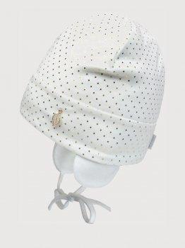 Демисезонная шапка с завязками David's Star 21347-1 44 см Молочная (ROZ6400045247)