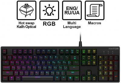 Клавіатура дротова HATOR Rockfall EVO Kailh Optical (HTK-610)