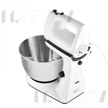 Миксер с чашей кухонный для дома для взбивания электрический стационарный ручной 4л 300W DSP (KM3015) White