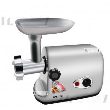 Мясорубка электрическая для дома с 3 насадками алюминиевая Haeger 550Вт Серебристая (HG-3399)