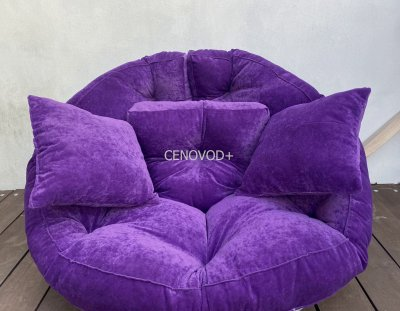 Крісло трансформер матрац з подушкою безкаркасне розкладне лежак Баклажан (68902111)