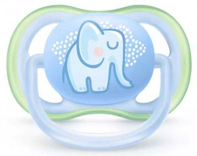 Пустышка ортодонтическая Philips AVENT Ultra Air с декором для мальчиков 0-6 мес 2 шт (SCF085/01)