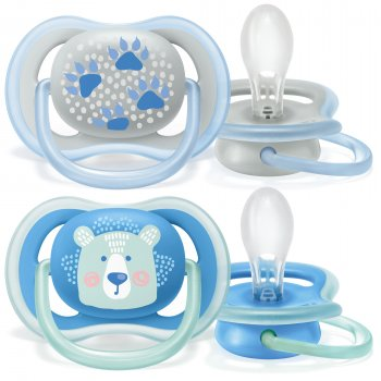 Пустышка ортодонтическая Philips AVENT Ultra Air с декором для мальчиков 6-18 мес 2 шт (SCF085/03)