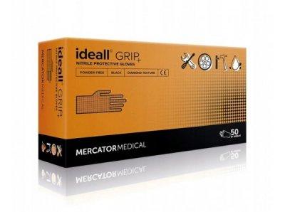 Супер прочные нитриловые перчатки Mercator Medical Ideall GRIP + S 50 шт Черные