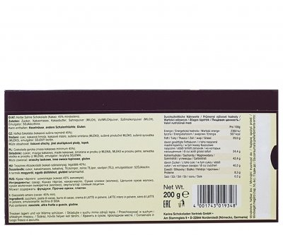 Шоколад Karina Чорний Sahne Herbe 200 г (55377)