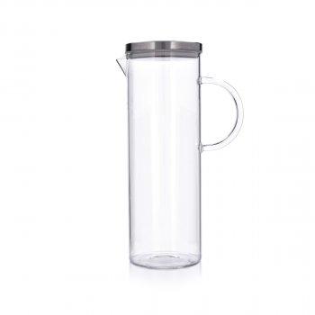 Графин стеклянный DUKA NOVA для воды с крышкой, прозрачное стекло, стекло, нержавеющая сталь, 1500 мл (1217404)