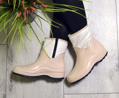 Черевики півчобітки W-shoes 118b гумові непромокальні утеплені флисом по всій довжині бежеві жіночі b-218