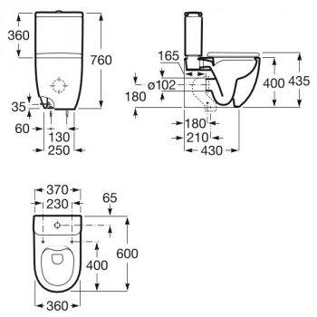 Унітаз підлоговий Roca Meridian Rectangular випуск універсальний монтується на підлозі з комплектом кріплень A34224L000