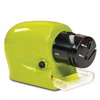 Электрическая точилка для ножей и ножниц ручная SWIFTY SHARP от батареек – прибор для заточения кухонных ножей точилка с острыми гранями - маленькая компактная надежная и удобная, Зеленый