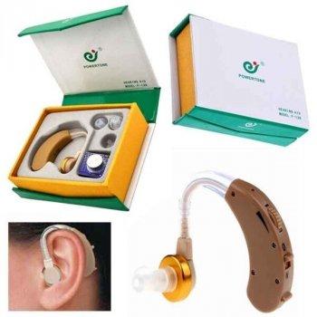 Заушный слуховой аппарат PowerTone F-138 усилитель слуха с зарядкой и аккумулятором (612934)