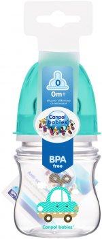 Бутылка с широким отверстием антиколиковая Canpol babies Easystart Цветные зверьки 120 мл Бирюзовая (35/205 Бирюзовый)