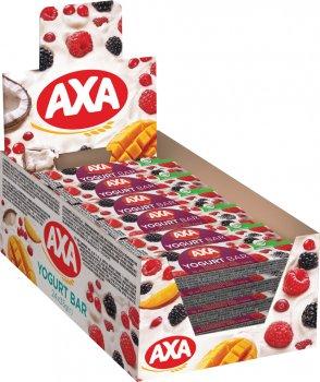 Упаковка цільнозернових батончиків AXA в глазурі зі смаком йогурту з насінням чіа, малиною й ожиною 35 г x 24 шт. (4820237690319)