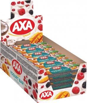 Упаковка цільнозернових батончиків AXA в глазурі зі смаком йогурту з насінням чіа, манго та журавлиною 35 г x 24 шт. (4820237690333)