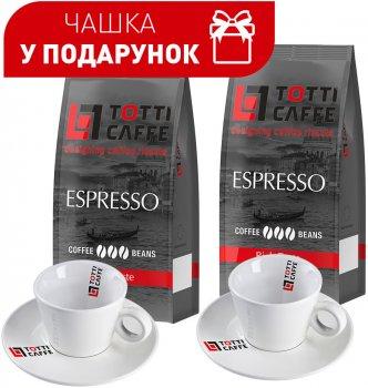 Набор Totti Caffe Кофе в зернах Espresso 1 кг х 2 шт + Чашка 65 мл с блюдцем 2 шт (8720254065540)