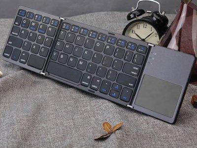 Міні клавіатура BauTech Bluetooth з тачпадом для IOS, Android, Windows портативна складна Чорний (1009-020-00)