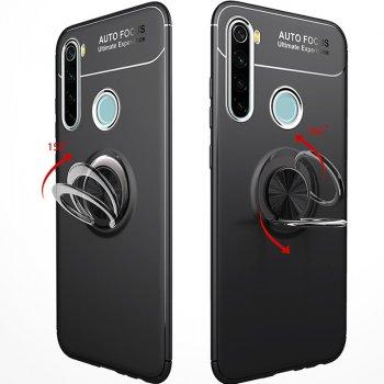 Чехол Противоударная накладка Deen ColorRing NEW под магнитный держатель для Xiaomi Redmi Note 8 Черный / Черный