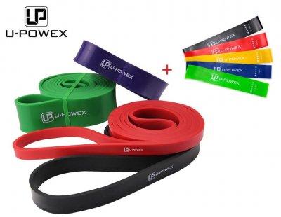 Комплект резинок для підтягувань U-Powex power bands 4 шт. + набір фітнес гумок (петлі для підтягувань, петлі для фітнесу, фітнес петлі)