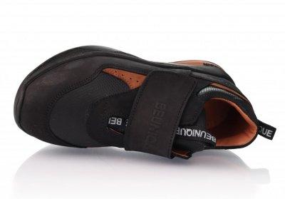 Кроссовки TOPITOP 309 для мальчиков чёрно-коричневые, кожа+нубук.