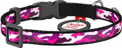 """Нашийник для собак нейлоновий Collar WAUDOG Nylon з QR паспортом, малюнок """"Рожевий камо"""", пластиковий фастекс, XS, Ш 10 мм, Дов 20-30 см (5273)"""